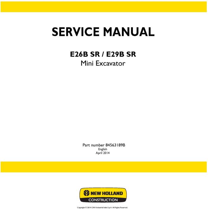 First Additional product image for - New Holland E26B SR, E29B SR Mini Excavator Service Manual