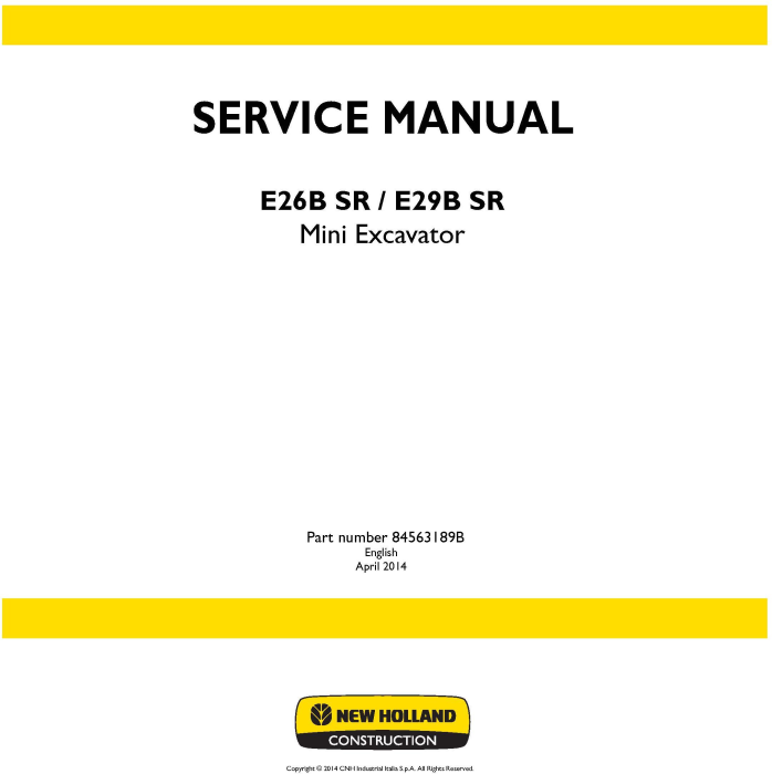First Additional product image for - New Holland E26B SR, E29B SR Mini Excavator Service Manual