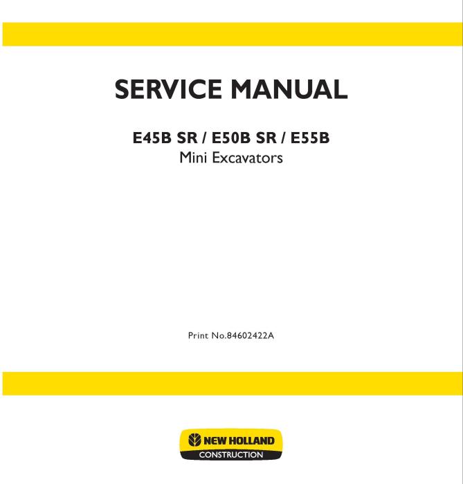 First Additional product image for - New Holland E45B SR, E50B SR, E55B Mini Excavator Service Manual