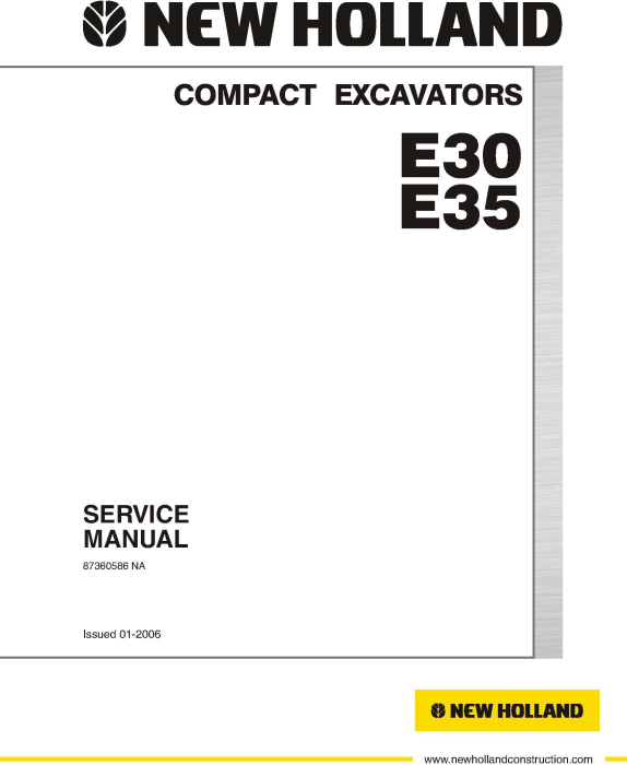 First Additional product image for - New Holland E30, E35 Compact Excavator Service Manual