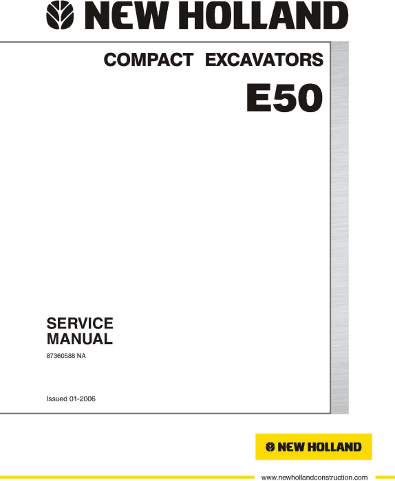 First Additional product image for - New Holland E50, E50SR Compact Excavator Service Manual