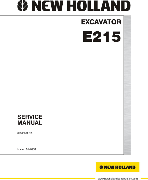First Additional product image for - New Holland E215 Excavator Service Manual