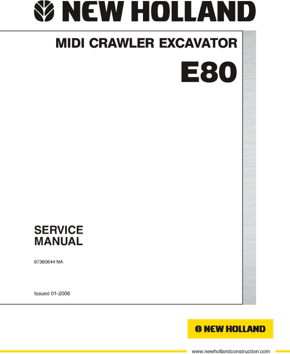 First Additional product image for - New Holland E80 (EH80) MIDI Crawler Excavator Service Manual