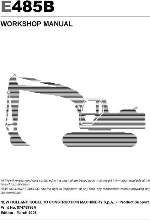 First Additional product image for - New Holland E485B Crawler Excavator Service Manual