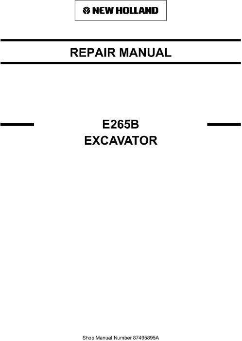 First Additional product image for - New Holland E265B Crawler Excavator Service Manual