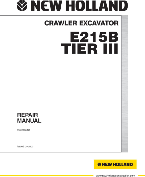 First Additional product image for - New Holland E215B Tier 3 Crawler Excavator Service Manual