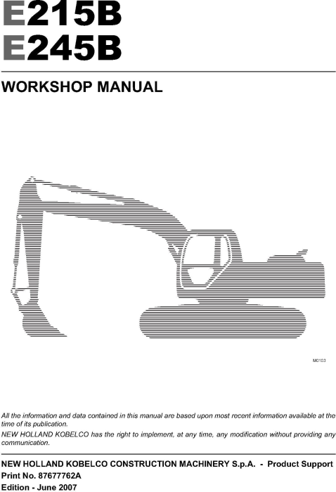 First Additional product image for - New Holland E215B, E245B Crawler excavator Service Manual