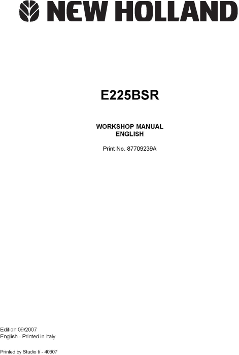 First Additional product image for - New Holland E225B SR Crawler Excavator Service Manual