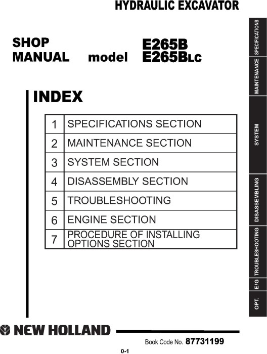 First Additional product image for - New Holland E265B, E265B LC Crawler Excavator Service Manual (2007.7)
