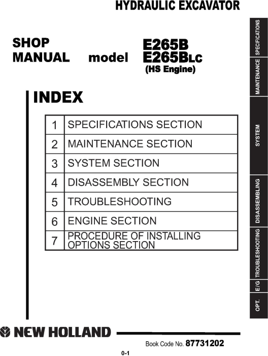 First Additional product image for - New Holland E265B, E265B LC Excavator with HS engine Service Manual (2007-9)