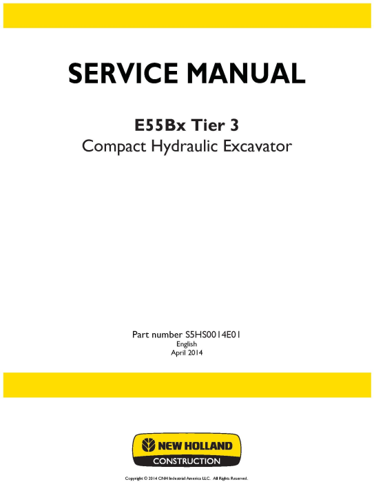 First Additional product image for - New Holland E55Bx Tier3 Compact Hydraulic Excavator Service Manual