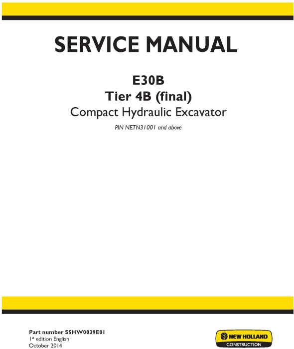 First Additional product image for - New Holland E30B Tier 4B (final) Compact Hydraulic Excavator (PIN from NETN31001) Service Manual