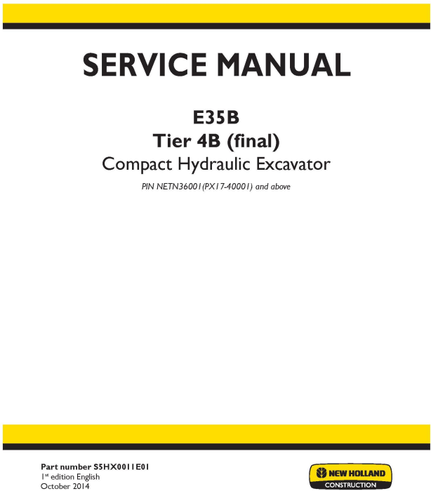 First Additional product image for - New Holland E35B Tier 4B final Compact Excavator (PIN. from NETN 36001, PX17 40001) Service Manual