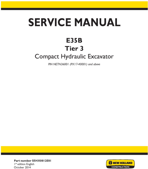 First Additional product image for - New Holland E35B Tier3 Compact Hydraulic Excavator (PIN from NETN 36001,  PX17 40001) Service Manual