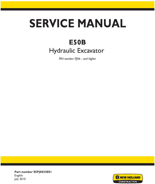 First Additional product image for - New Holland E50B Hydraulic Excavator (PIN. PJ06 00001 and Higher) Service Manual