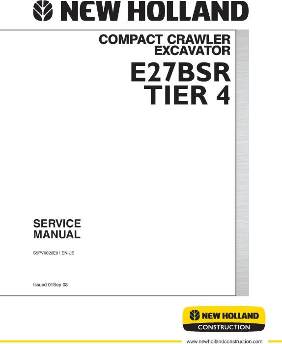 First Additional product image for - New Holland E27B SR Tier 4 Compact Crawler Excavator Service Manual
