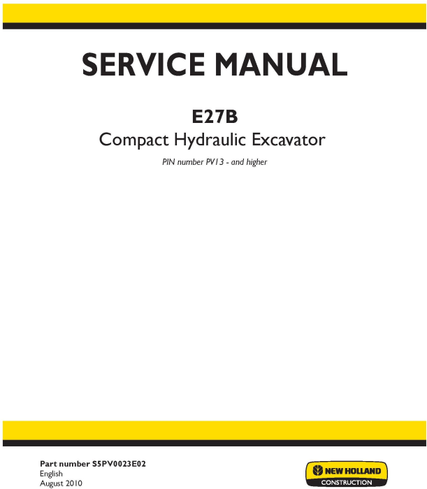 First Additional product image for - New Holland E27B Compact Hydraulic Excavator Service Manual