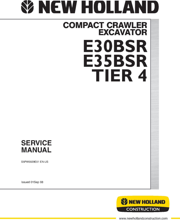First Additional product image for - New Holland E30B SR, E35B SR Tier 4 Compact Crawler Excavator Service Manual