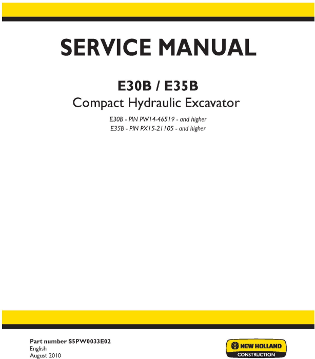 First Additional product image for - New Holland E30B, E35B Compact Hydraulic Excavator Service Manual