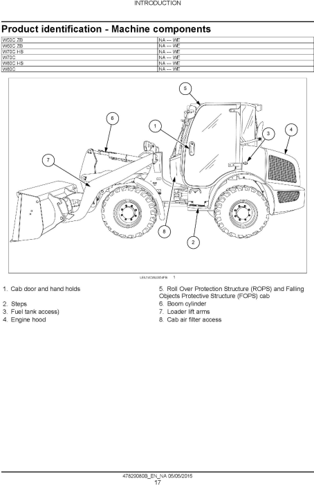 Second Additional product image for - New Holland W50C, W60C, W70C, W80C Tier 4B (final) Compact Wheel Loader Complete Service Manual