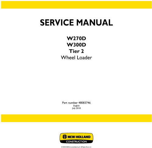 First Additional product image for - New Holland W270D, W300D Tier 2 Wheel Loader Service Manual