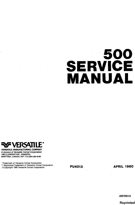 First Additional product image for - Ford Versatile 500 4WD Tractor (1977-79) Complete Service Repair Manual (PU4013)