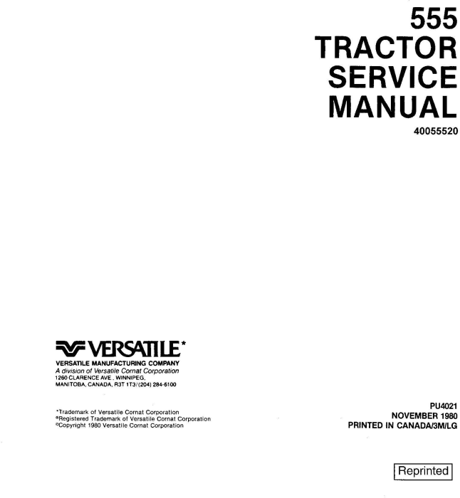 First Additional product image for - Ford, Versatile 555 4WD Tractor (1980) Complete Service Manual (PU4021)