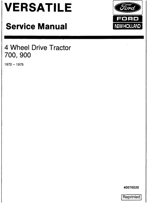 First Additional product image for - Ford Versatile 700, 900 4WD Tractor (1972-1975) Service Repair Manual (V20500)