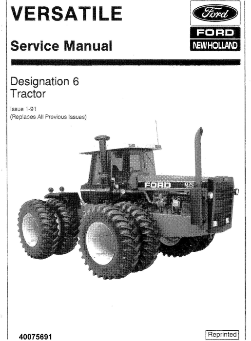 First Additional product image for - Ford Versatile 836, 846, 876, 936, 946, 956, 856, 976 4WD (Designation 6) Tractors Service Manual