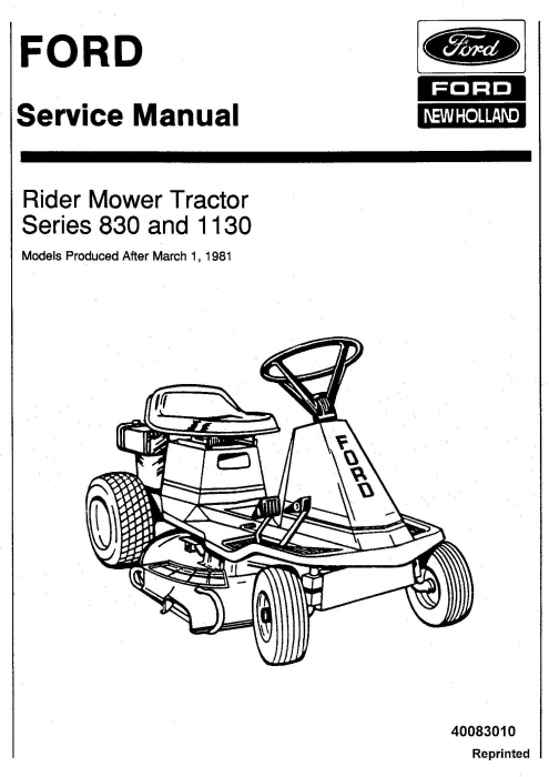 First Additional product image for - Ford 830 & 1130 Rider Mower Tractor Service Manual (SE3988)