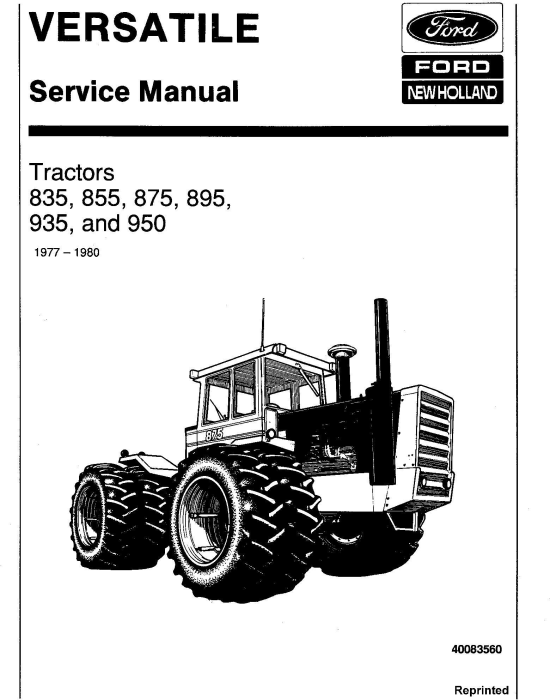 First Additional product image for - Ford Versatile 835, 855, 875, 895, 935, 950 4WD Tractor Service Manual (V4020)