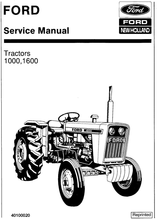 First Additional product image for - Ford 1000, 1600 Tractor Service Repair Manual (SE3414)