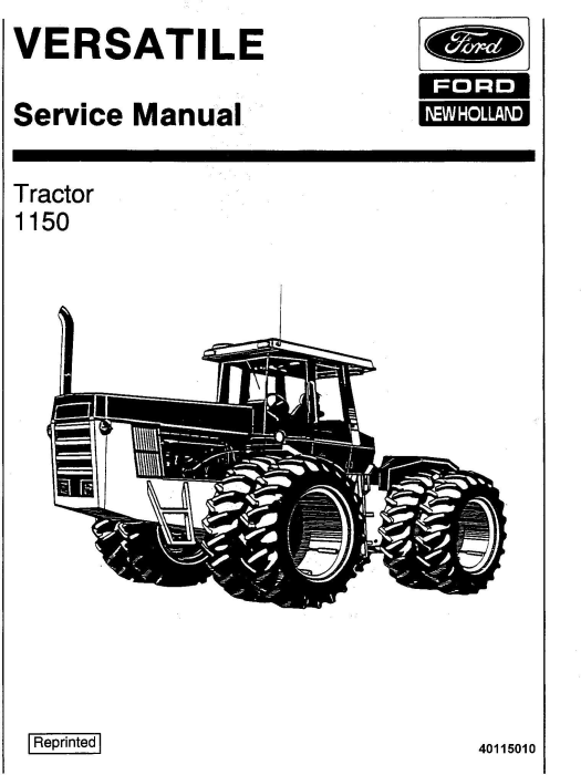 First Additional product image for - Ford 1150 4WD Tractor Service Manual (V74801)