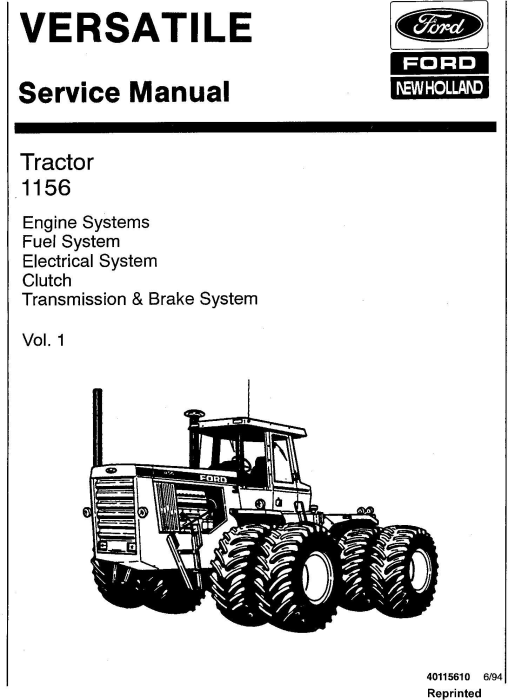First Additional product image for - Ford Versatile 1156 Tractor Complete Service Manual