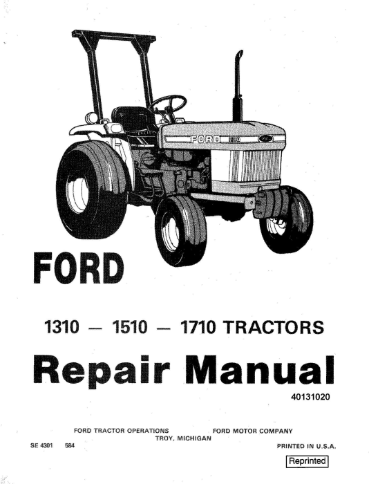First Additional product image for - Ford 1310, 1510, 1710 Tractor Comlete Service Manual (SE4301)