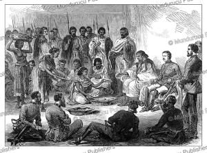 sir robert napier having an abyssinian diner, g.a. henty, 1868