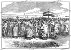 abyssinian priests signing the song of moses before robert napier, the illustrated london news, 1868