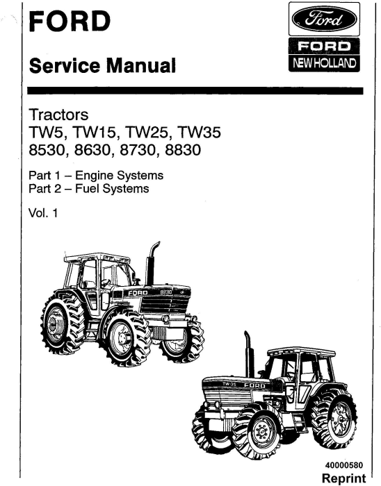 First Additional product image for - Ford TW5, TW15, TW25, TW35, 8530, 8630, 8730, 8830 Service Manual
