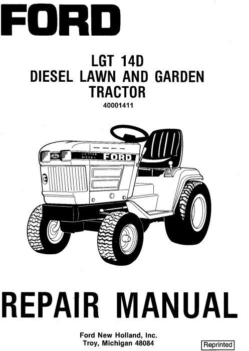 First Additional product image for - Ford LGT14d Diesel Lawn and Garden Tractor Complete Service Manual (SE4570)