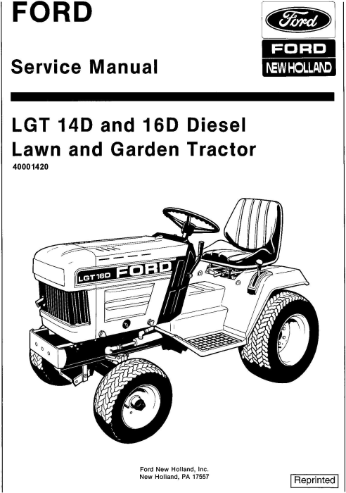 First Additional product image for - Ford  LGT14d,  LGT16d Diesel Lawn and Garden Tractor with binder Service Manual