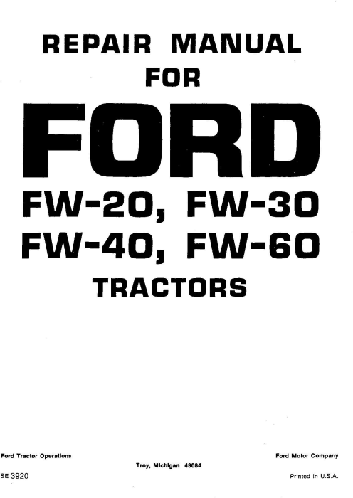 First Additional product image for - Ford FW20, FW30, FW40, FW60 Tractor Service Manual (SE3920)