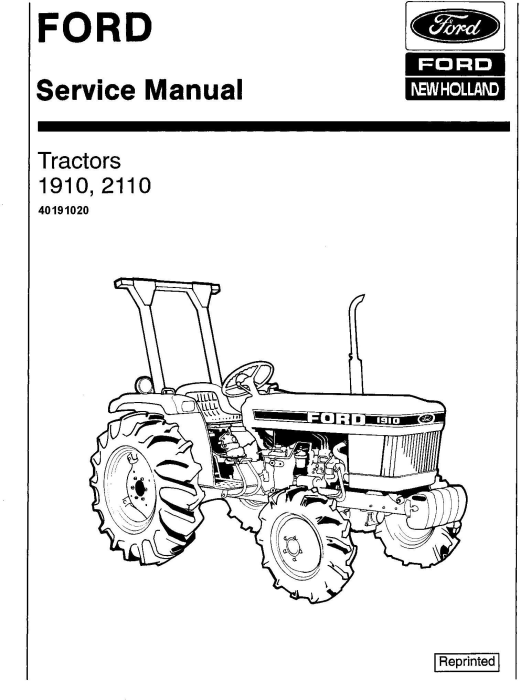 First Additional product image for - Ford 1910, 2110 Tractor Service Repair Manual (SE4370)