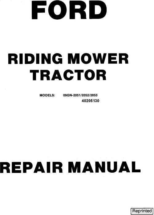 First Additional product image for - Ford 09GN-2051/2052/2053 / 2054/2055/2056 Riding Mower Tractor Service Repair Manual (SE4363-4)