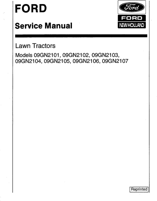 First Additional product image for - Ford LT11H 09GN2101 /2102 /2103 /2104 /2105 /2106 /2107 Lawn Tractor + Att Service Manual (Se4363-3)