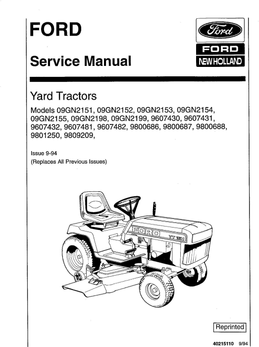 First Additional product image for - Ford YT12.5, YT14, YT16, YT16H, YT18H Yard Tractors and Attachment Service Manual