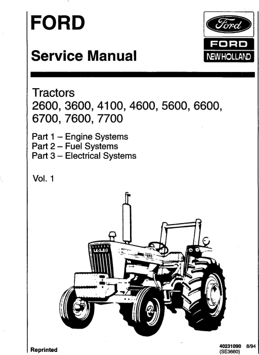 First Additional product image for - Ford 2600, 3600, 4100,4600, 5600,5900, 6600,6700, 7600,7700 Tractor Complete Service Manual (SE3660)