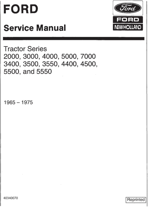 First Additional product image for - Ford 2000, 3000, 4000, 5000, 7000, 3400, 3500, 3550, 4400, 4500, 5500, 5550 Tractor Service Manual