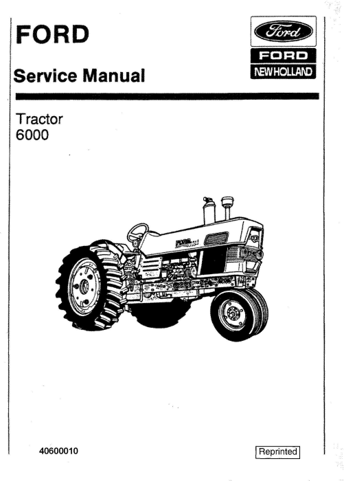 First Additional product image for - Ford 6000 Tractor Workshop Service Manual (SE8799)