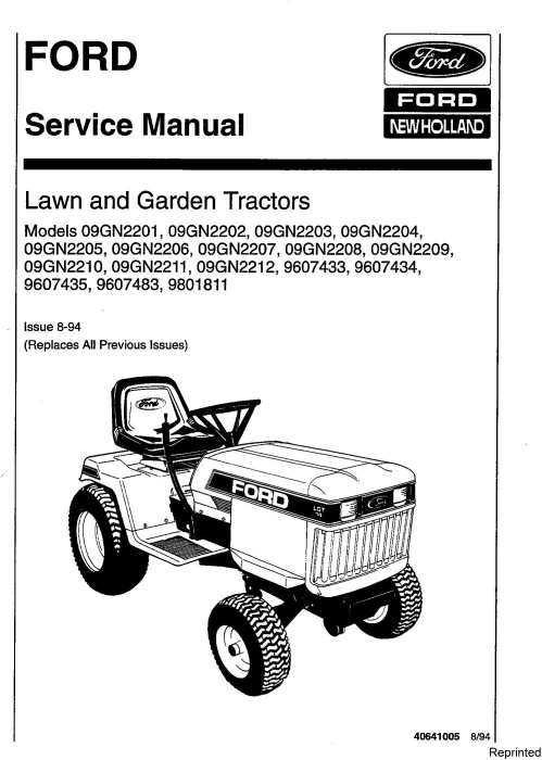 First Additional product image for - Ford LGT12 (H), LGT14 (H), LGT17 (H), LGT18H Lawn & Garden Tractors Service Manual (SE4363-1)