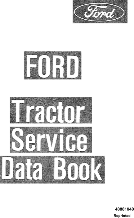 First Additional product image for - Ford 2600, 3600, 4100, 4600, 5600, 6600, 6700, 7600, 7700 Tractor Service Data Book Manual (SE3846)